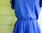 CLEARANCE ITEM - Vintage Peplum Dress Large Bright Blue / med / lg