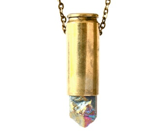 MEIA rainbow titanium aura crystal bullet necklace