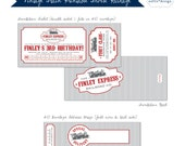 Instant Download - Editable - Vintage Train Birthday Party Invite & Address Wrap