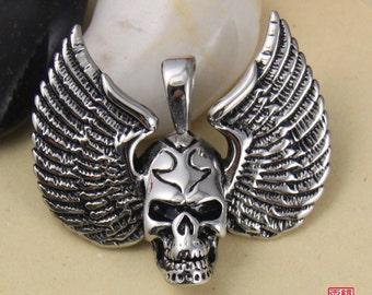 Flying Skull Stainless Steel Pendant