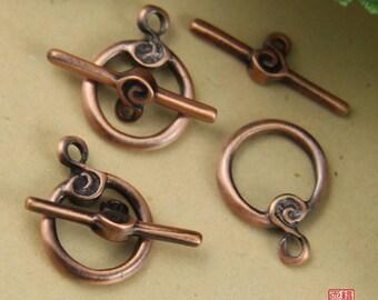 5 Sets Copper Round Toggle Clasp-TC005