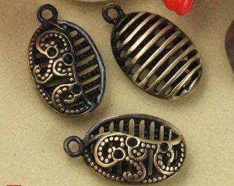 4pcs Brass Oval drop Charm