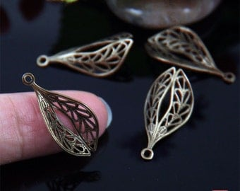 8pcs Brass Filigree Earring Drop Charm-ER04