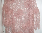 Crochet lace pale pink old rose poncho wrap shawl with flowers and fringe