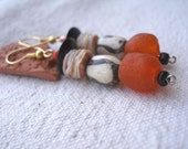 African shell horn batik bone and orange recycled glass Earrings by Fianaturals