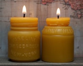 """Beeswax Candle Set - antique bottle shaped - """"Vaseline and Milk Weed Cream Jars"""" - by Pollen Arts - Md & Sm."""