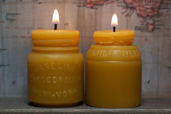 "Beeswax Candle Set - antique bottle shaped - ""Vaseline and Milk Weed Cream Jars"" - by Pollen Arts - Md & Sm."