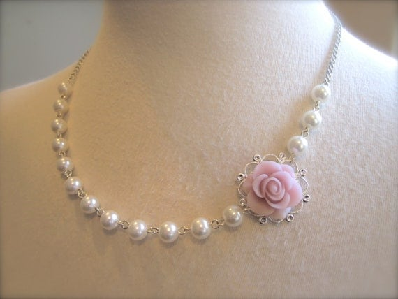 Pastel Asymmetrical Bridesmaids Necklace Wedding jewelry baby pink Rose Flower pearls necklace Bridesmaids Jewelry Gift Wedding Necklace