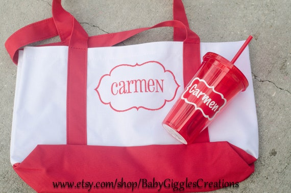 personalized tote bag and tumbler