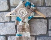For Dear Ana /// Patchwork Wool Scarf in Neutral and Aqua Crochet - Men, Unisex, Women