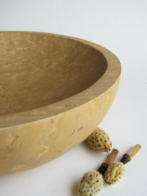 Limestone Centerpiece Bowl Resembling Burled Maplewood