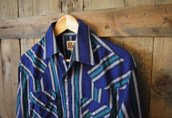 SALE Vintage 70s striped blue green Country Western pearl snap shirt // mens medium large