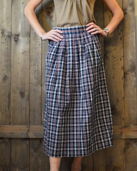 RESERVED for Silvia /////// SALE vintage 80s eddie bauer gingham blue plaid country prairie midi skirt / small