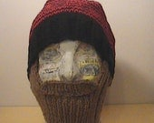 Black and Red Knit Beard Hat