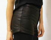 Black Leather Mini Shorts/Hot Pants with Turnups, Size 8, made from recycled leather