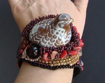 "FREE SHIPPING  Bead Embroidery Cuff   ""Bird Keklik""  Bracelet"