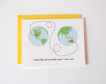 I Miss You Card - I Love You Card - It feels like we're worlds apart. I miss you.