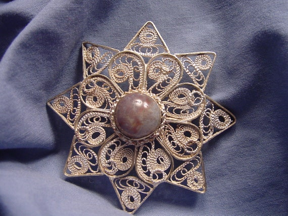 Solid Sterling Silver filigree & Purple Agate broach / pendant