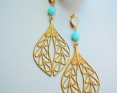 Peruvian Opal Brass Earrings - Filigree Leaves - Large Dangles - NaturalGlam