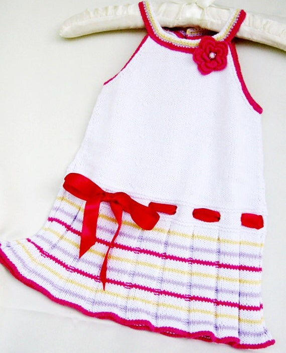 Sale - Hand Knitted baby dress, cotton baby dress, summer baby dress, white children dress , baby girls clothing, Ready to Ship