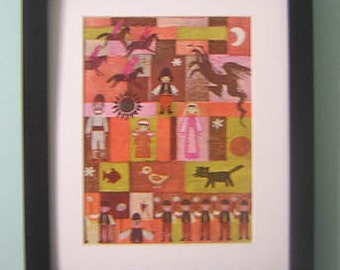 Vintage Mounted And Backed Framed Print - People/Dragons