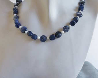 Blue and White Necklace with Blue Sodalite and White Jasper