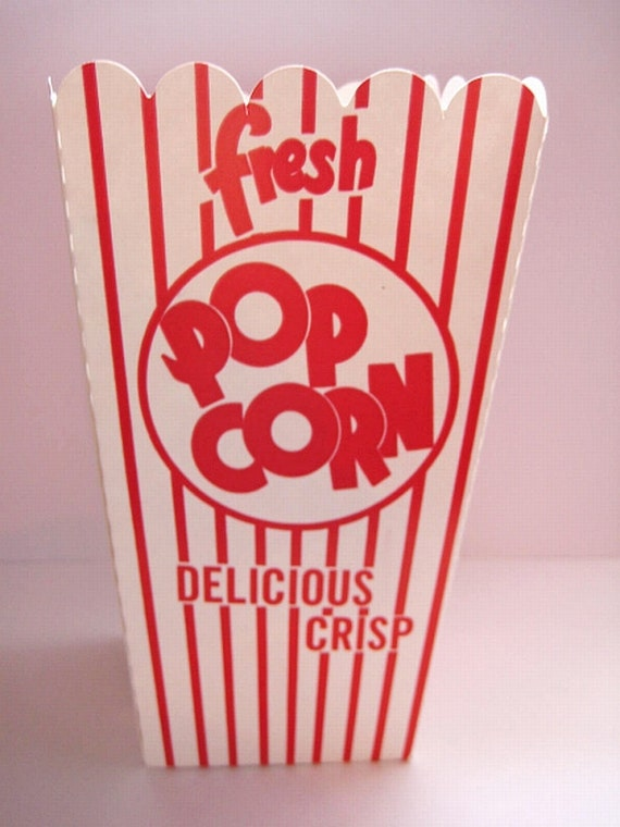 Items similar to 10 Red & White Striped Popcorn Box ...