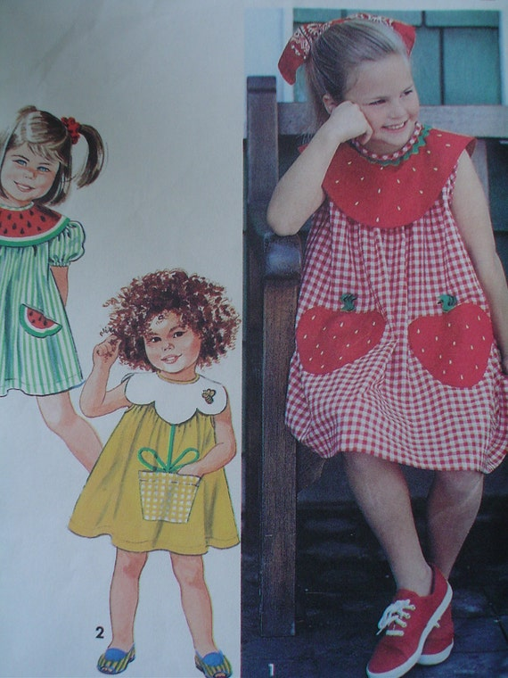 Toddler Dress Simplicity No. 7784 Size 2 3 & 4 VINTAGE 1992 Sweet Pocket Variations Strawberries Flowers Watermelon