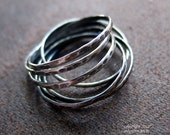 Interlocking Rings. Hammered Texture with Criss Cross Fit.