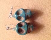 Aqua Stone Skull earrings