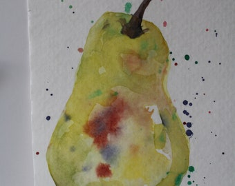 Pear  Painting - Original Watercolor Still Life - Fruit Painting - Small abstract pear - miniature painting