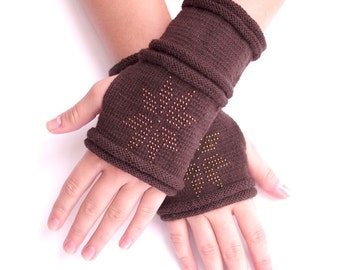 Cozy PURE merino wool beaded fingerless gloves, wrist warmers, arm warmers, fingerless mittens in brown with a star - READY to ship