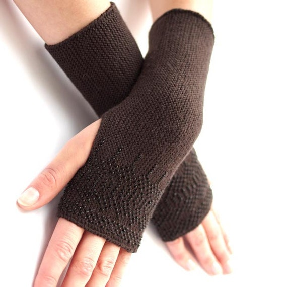Long PURE merino wool beaded fingerless gloves, wrist warmers, arm warmers in dark chocolate brown with black glass beads