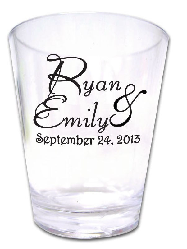 50 personalized wedding favors custom plastic shot glasses new