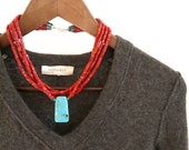SALE. red coral heishi necklace with turquoise pendant. sterling silver clasp. gift for her. luxe.