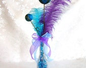 Peacock Wedding Table Centerpiece Decoration in Purple and Teal
