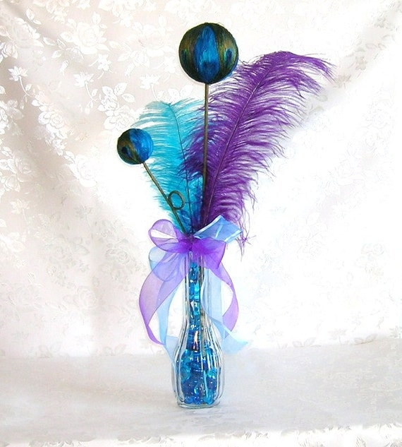 Peacock Wedding Centerpieces Ideas: Peacock Wedding Table Centerpiece Decoration In Purple And