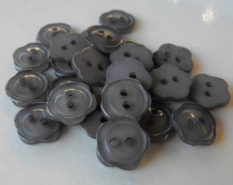 25 Ash Gray Small Flower Buttons Size 7/16""