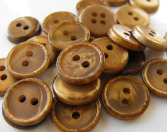 25 Bronze Shiny Round Buttons Size 9/16""