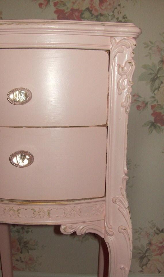 vintage pink nightstand dresser shabby chic cottage