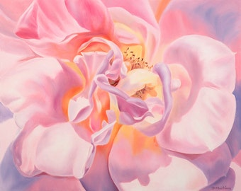 Oil Painting Pink Rose Print-Gift of the Rose Collection- Open Edition-Gratitude- 8x10