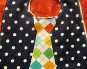 Navy Dot Argyle Tie Bib Ready to Ship - torilynn817