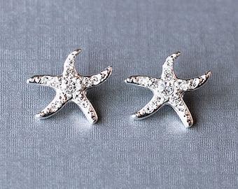 Bridal Earring Wedding Earring Rhinestone Earring Crystal Earring Beach Starfish Stud Earring Wedding Jewelry ER029LX