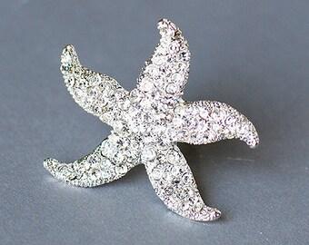 Rhinestone Bridal Ring Wedding Ring Crystal Starfish Ring Silver Adjustable Ring Beach Wedding Jewelry RN003LX