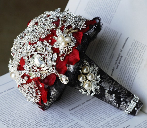 Vintage Bridal Brooch Bouquet Pearl Rhinestone Crystal Silver Black Red One Day RUSH ORDER Available BB017LX