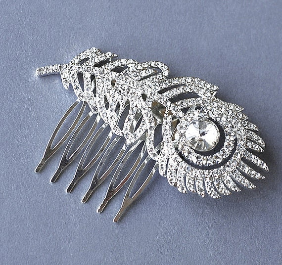 Rhinestone Bridal Hair Comb Wedding Jewelry Crystal Peacock Feather Side Tiara CAMILLE Collection CM007LX