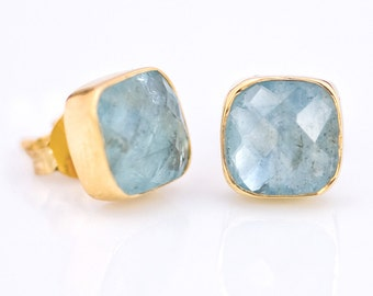 Aquamarine Stud Earrings - March Birthstone  Stud Earrings - Gemstone Studs - Cushion Cut Studs - Gold Stud Earrings - Post Earrings