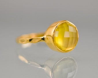40 0FF - Yellow Chalcedony Ring - Gemstone Ring - Stacking Ring - Gold Plated - Round Ring