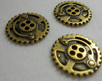 Steampunk Buttons - Metal, Antique Brass - Gears - 3 PC Set, Small - Steam Punk, Industrial, Post-Apocalyptic Fantasy Buttons
