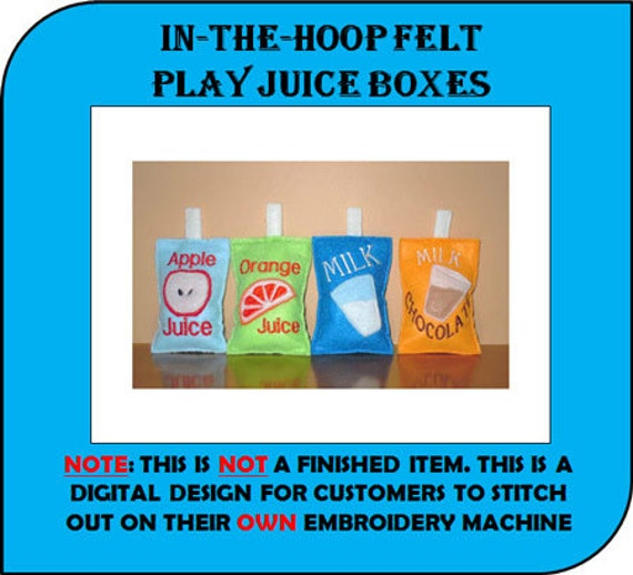 In The Hoop Felt Food Drink Box with Straws Designs for Embroidery Machines